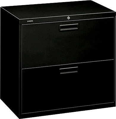HON® Brigade® 500 Series 2 Drawer Lateral File Cabinet, Letter/Legal, Black, 30