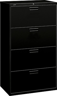HON® Brigade® 500 Series 4 Drawer Lateral File Cabinet, Letter/Legal, Black, 30