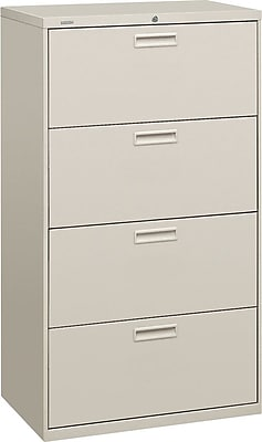 HON® Brigade® 500 Series 4 Drawer Lateral File Cabinet, Letter/Legal, Light Grey, 30