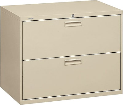 HON® Brigade® 500 Series 2 Drawer Lateral File Cabinet, Letter/Legal, Putty, 36