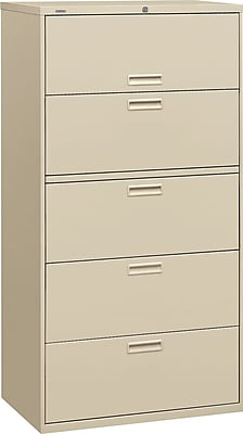 HON® Brigade® 500 Series 5 Drawer Lateral File Cabinet, Letter/Legal, Putty 36