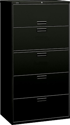 HON® Brigade® 500 Series 5 Drawer Lateral File Cabinet, Letter/Legal, Black, 36