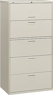HON Brigade™ 500 Series 5 Drawer Lateral File, Gray,Letter/Legal, 36''W (HON585LQ)