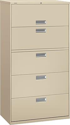 HON Brigade 600 Series Lateral File, 5 Drawers, Aluminum Pull, 36