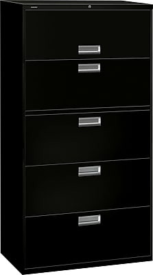 HON Brigade 600 Series Lateral File, 5 Drawers, Aluminum Pull, 36