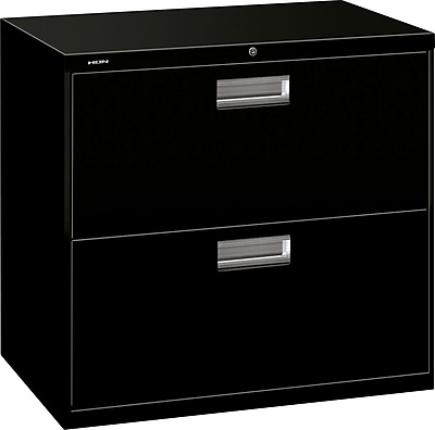 HON Brigade 600 Series 2 Drawer Lateral File Cabinet, Letter, Black, 30