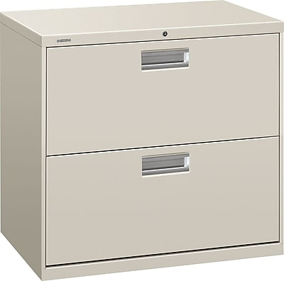 HON® Brigade® 600 Series 2 Drawer Lateral File Cabinet, Light Gray, 30