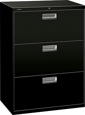 HON Brigade 600 Series 3 Drawer Lateral File Cabinet, Letter, Black, 30