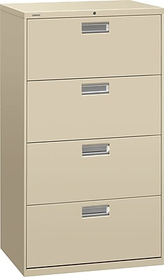 HON Brigade 600 Series 4 Drawer Lateral File Cabinet, Letter, Putty, 30