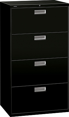 HON Brigade 600 Series 4 Drawer Lateral File Cabinet, Letter, Black, 30