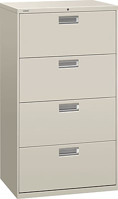 HON Brigade 600 Series 4 Drawer Lateral File Cabinet, Letter, Light Gray, 30