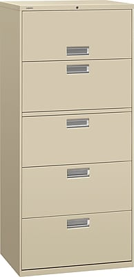 HON Brigade 600 Series 5 Drawer Lateral File Cabinet, Letter, Putty, 30
