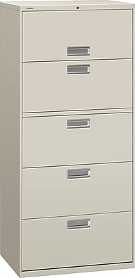 HON Brigade 600 Series 5 Drawer Lateral File Cabinet, Letter, Light Gray, 30
