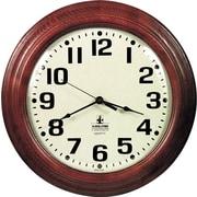 """Hardwood Battery Operated Wall Clock, Mahogany, 16"""""""