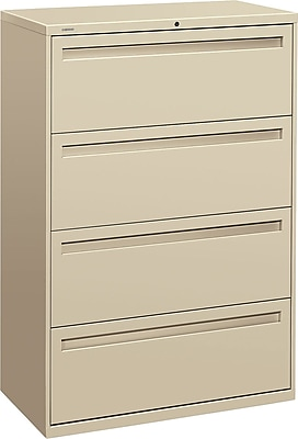 HON Brigade™ 700 Series 4 Drawer Lateral File, Putty/Beige,Letter/Legal, 36''W (HON784LL)