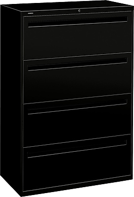 HON Brigade™ 700 Series 4 Drawer Lateral File, Black,Letter/Legal, 36''W (HON784LP)