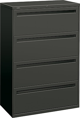 HON Brigade™ 700 Series 4 Drawer Lateral File, Charcoal,Letter/Legal, 36''W (HON784LS)