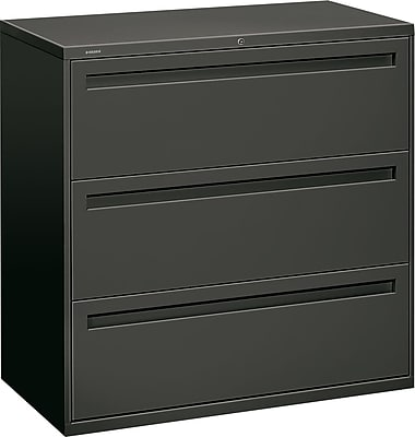 Hon® 700 Series 3-Drawer Lateral File Cabinet, Charcoal, Letter/Legal (793LS)