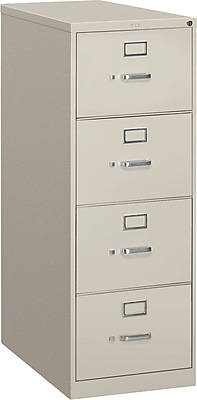 HON® S380 Series 4 Drawer Vertical File Cabinet, Light Gray, Legal, 26