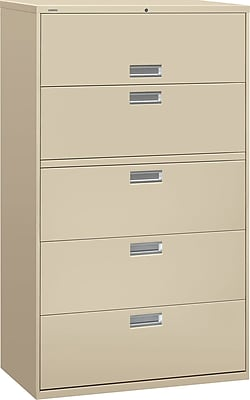 HON Brigade 600 Series Lateral File, 5 Drawers, Aluminum Pull, 42