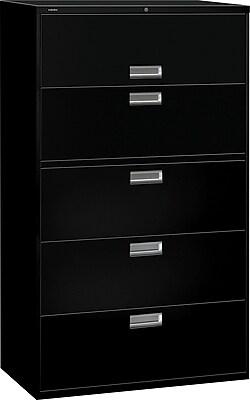 HON Brigade 600 Series Lateral File, 5 Drawers, Aluminum Pull, 42