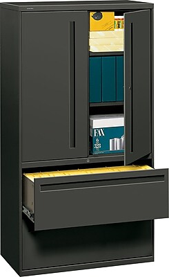 HON® 700 Series 2 Drawer Lateral File Cabinet w/Roll-Out & Posting Shelves, Charcoal, Letter/Legal, 36