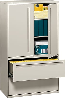 HON® 700 Series 2 Drawer Lateral File Cabinet w/Roll-Out & Posting Shelves, Light Grey, Letter/Legal, 42