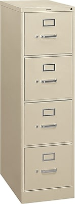 HON® S380 Series 4 Drawer Vertical File Cabinet, Putty, Letter, 26