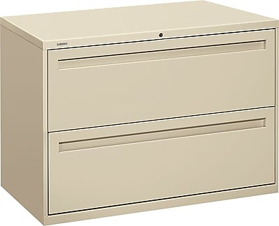 """HON Brigade® 700 Series Lateral File, 2-Drawer, 28-3/8Hx42Wx19-1/4""""D, Putty"""