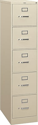 HON 310 Series 5 Drawer Vertical File Cabinet, Letter, Putty, 26-1/2
