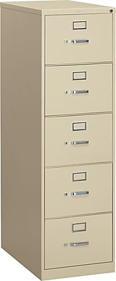 HON 310 Series 5 Drawer Vertical File Cabinet, Legal, Putty, 26-1/2