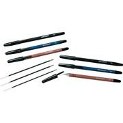 SkilCraft Rubberized Ballpoint Stick Pens, Medium Point, Black Ink / Black Barrel, 12/Pk