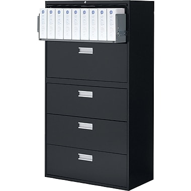 Staples® Lateral File Cabinet, 5 Drawer, Black