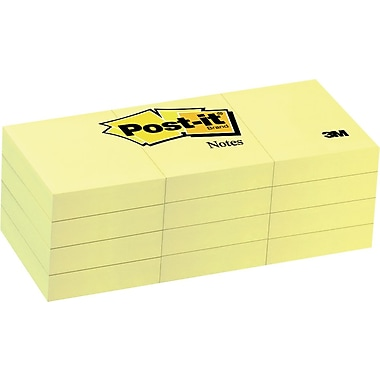 Post-it® Notes, 1-3/8'' x 1-7/8'', Canary Yellow, 12/Pack