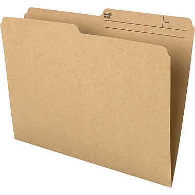 Staples® Recycled File Folder, 1/2-Cut, Letter Size, 10-1/2 pt., Natural Sand