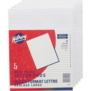"""Hilroy Figuring Pad, 8-3/8"""" x 10-7/8"""", Wide-Ruled, White, 5/Pack of 5 Pads, 96 Sheets per Pad"""