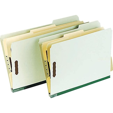 Pendaflex® Classification Folder with # 1 and 3 Fastener Position, Letter Size, Green/Ivory