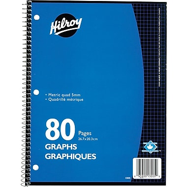 Hilroy - Cahier de notes, quadrillé métrique 5 mm, 10-1/2 po x 8 po, variés, 80 pages