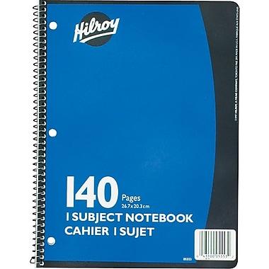 Hilroy - Cahier de notes à 1 sujet, 10 1/2 po x 8 po, variés, 140 pages