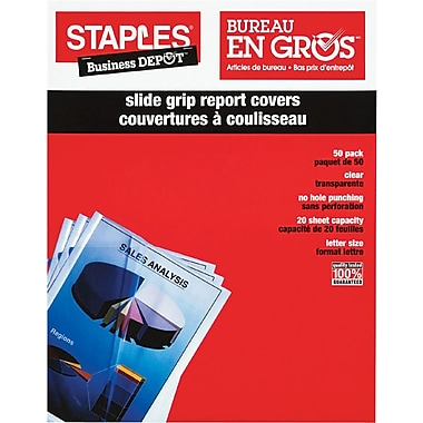 Staples® - Couvertures de rapport à coulisseau, paq./50