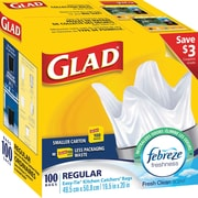 Glad® Kitchen Catchers® Garbage Bags with Febreze, Regular, 100/Pack (CL30220)