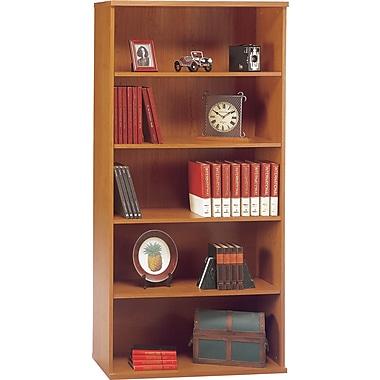 Bush® - Bibliothèque ouverte double de la Collection Westfield, fini cerisier naturel et gris graphite