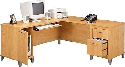 Bush Somerset Collection 71 LShaped Desk Maple Cross Staples