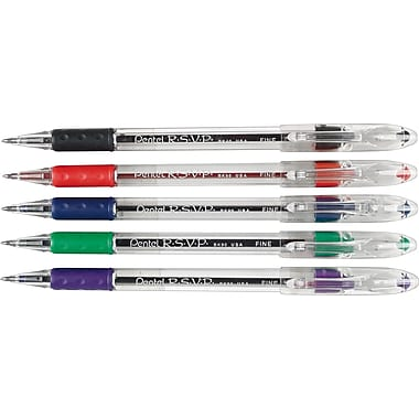 Pentel® - Stylos à bille R.S.V.P., 0,7 mm, couleurs variées, paq./5