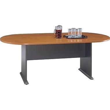 BushMD – Table de conférence ovale de la collection Cubix, fini cerisier naturel/gris ardoise