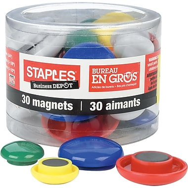 Staples® Coloured Button Magnets, Classic Colours, 30/Pack