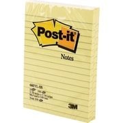 Post-it® Notes, Canary Yellow, 4'' x 6'', Lined, 2 pads/Pack
