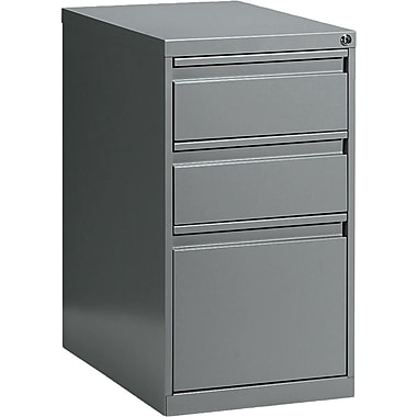 Global® Box/Box/File Pedestal, 3-Drawer, Grey