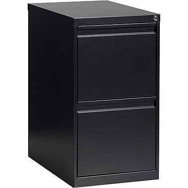 Global® File/File Pedestal, 2-Drawer, Black