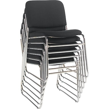 Staples® Deluxe Chrome Stacking Chair, Black